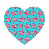 Heart Shaped Background With Starfish. poster