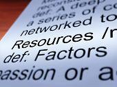 Primer plano de definición de recursos materiales y activos