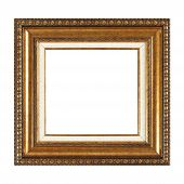 Isolated Photo Frame, Golden Antique Photo Frame, Used Vintage Frame. poster