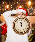 Time For Winter Party. Woman Santa Hat Hold Vintage Clock. Time To Celebrate. Merry Christmas. Time  poster