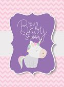 Baby Shower Invitation With Unicorn Vector Design , Party Card Decoration Love Celebration Arrival A poster