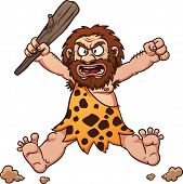stock photo of caveman  - Angry cartoon caveman jumping - JPG