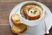 stock photo of baguette  - french onion gratin soup - JPG
