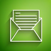 White Line Mail And E-mail Icon Isolated On Green Background. Envelope Symbol E-mail. Email Message  poster