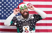 The Joy Of Continuous Celebration. Bearded Man Celebrate Christmas And New Year. Happy Hipster In Pa poster