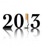 New Year's resolution Quit Smoking concept with the i in 2013 being replaced by a stubbed out cigare