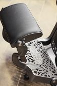 Closeup Detail Of Stylish Vintage Barber Chair. Barbershop Theme.. Barber Shop Chair. Barbershop Arm poster
