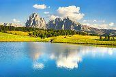 Lake And Mountains At Sunset, Alpe Di Siusi Or Seiser Alm, Dolomites Alps Sassolungo And Sassopiato, poster