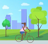 Afro-american Woman Riding On Bike In City Park With Trees, Bushes And Buildings. Vector Teenage Gir poster