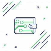 Blue And Green Line Cryptocurrency Wallet Icon On White Background. Wallet And Bitcoin Sign. Mining  poster
