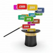 Domain names on signboards and magic hat. 3d