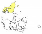 Map Of Danmark, North Denmark Highlighted poster