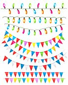 Strings Of Holiday Lights And Birthday Flags White Background. Vector Illustration