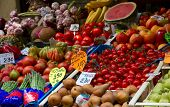 fruit and vegetable stand in street market