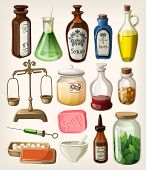 stock photo of flask  - Set of vintage apothecary and medical supplies - JPG
