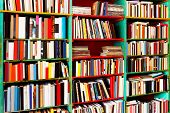 stock photo of book-shelf  - Angle shot of book rack with big collection - JPG