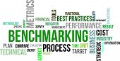 picture of benchmarking  - A word cloud of benchmarking related items - JPG