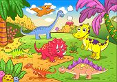 foto of prehistoric animal  - Cute dinosaurs in prehistoric scene EPS8 File  - JPG