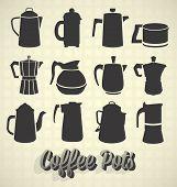 Vector Set: Vintage Coffee Pot Silhouettes