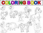 stock photo of turkey-hen  - Vector illustration of farm animal coloring book - JPG