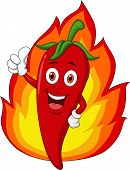 Red chili cartoon with flame