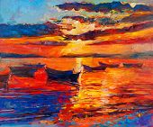 stock photo of acrylic painting  - Original oil painting of boats and sea on canvas - JPG