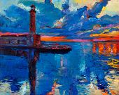 stock photo of realism  - Original oil painting of old lighthouse on canvas - JPG