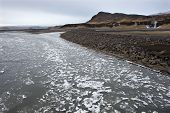 Floating Ice On River