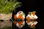 Salmon, Cheese, And Herbs Canapes