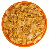 Sunshiny Orange Bowl Of Breakfast Cereal Cornflakes, Isolated Over White Background