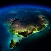 Night Earth. Part Of Australia. Tasmania
