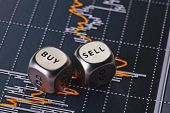 stock photo of coins  - Dices cubes to trader - JPG