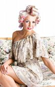 Blonde Woman In Curlers