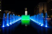 King Sae Jong Dae Statue Night Fountain Centered