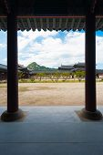 Gyeongbokgung Palace Seoul Columns Dirt Courtyard