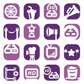 color movie icon set