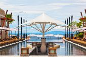 pool in hotel on an ocean coast to Bali
