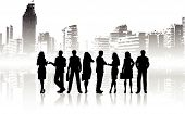 picture of person silhouette  - Silhouettes of business people on a city background - JPG