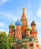 foto of cupola  - St Basils cathedral and Monument to Minin and Pozharsky on Red Square in Moscow Russia - JPG