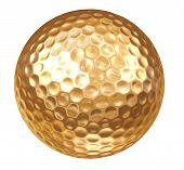 Постер, плакат: Золото гольф мяч на белом