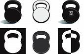 Monochrome kettlebells including isolated on white