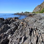 Kaikoura Rocky Coastline Vertical Panorama, New Zealand