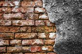 Brick Wall With Cracked Concrete
