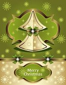 Christmas TChristmas Tree from paper with bow ribbon snowflakes gold green