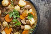 Irish stew, made with lamb, stout, potatoes, carrots and herbs.