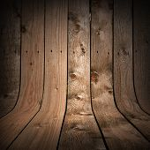 Uncolored Dark Wood Background With Bent Planks As A Walls And Floor