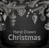 Christmas Chalkboard Vector Illustration. Xmas Decorations. Christmas Tree. Vector.