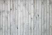 stock photo of wooden fence  - Background texture of old white painted wooden lining boards wall - JPG