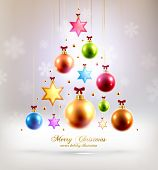 Christmas Balls and Stars. Xmas Decorations. Blur Silver Snowflakes. Vector.