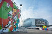 MINSK, BELARUS - NOVEMBER 1: Minsk Arena Complex - one of the 2014 Ice Hockey World Championship ven